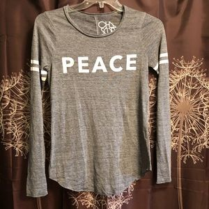 CHASER PEACE grey graphic Tee Top Shirt size Small